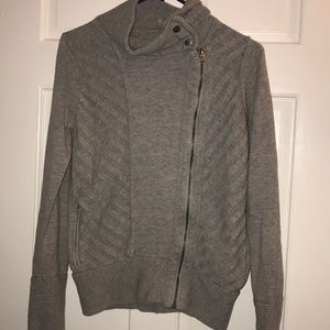 Athleta Grey Zip Up Sweater Small 70%nylon30%wool
